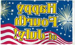 "2 x ""HAPPY FOURTH OF JULY"" flag 3x5 ft poly 4th"