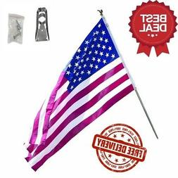 3 x 5 Foot Polycotton US American Flag Kit with 6 Foot Steel