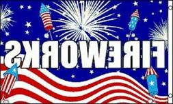 3x5 FireWorks 4th of July Flag 3'x5' House Banner US SELLER