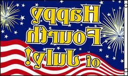 3x5 Ft HAPPY 4th FOURTH OF JULY Flag Business Advertising Si