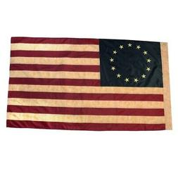 3x5 Ft Tea Stained Betsy Ross 13 Star Embroidered US Flag 3
