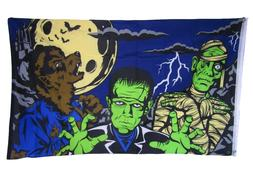 3x5 Happy Halloween Spooky Fright Night Monsters Flag 3'x5'