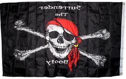 3x5 Jolly Roger Pirate Surrender the Booty Flag 3'x5' Flag H