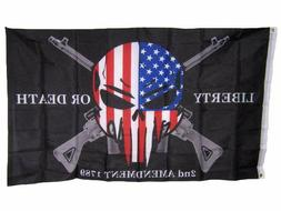 3x5 Liberty or Death 2nd Amendment USA Punisher Skull Rifles