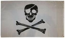 3x5 Pirate Black and White Patch FLAG 5' x 3' Skull Skeleton