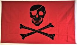 3x5 Pirate Red Blood Patch FLAG 5' x 3' Skull Skeleton Bones