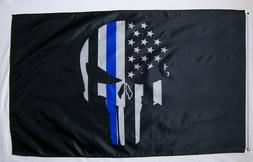 3x5 Police Thin Blue Line Flag Punisher Banner Memorial USA