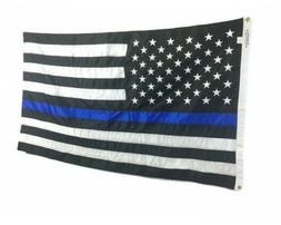 3x5' Thin Blue Line Embroidered USA Flag Durable All-Weather