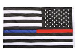 ERT Thin Blue Line and Thin Red Line Flag - 3x5 ft with Embr