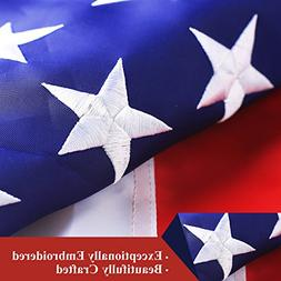 4x6 ft American Flag Sewn Stripes Embroidered Stars Brass Gr