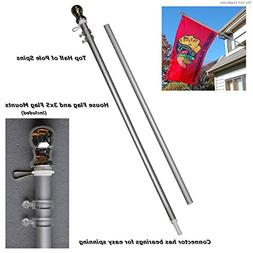Aluminum 6' Foot Spinning Silver Flagpole for Grommet or Hou