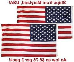 3x5 Ft American Flag w/ Grommets ~ United States Of America
