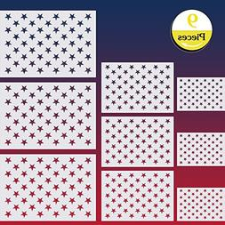9 Pieces American Flag 50 Star Stencil Template for Painting