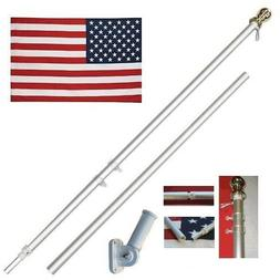 American Flag Pole Kit Wall Mount 6 Ft Spinning 3'x5' US Fla