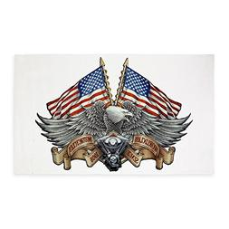 3' x 5' Area Rug Eagle American Flag Motorcycle Engine