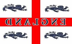 England 4 Lions Flag 5ft x 3ft Large - 100% Polyester - Meta