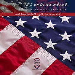 Rushmore Rose USA US Flag 5x8 ft: 100% Made in USA. Premium