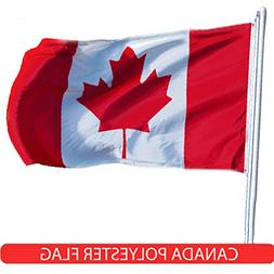 G128 - Canada Flag 3x5ft Printed Quality Polyester Brass Gro