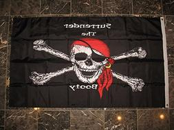 3x5 Jolly Roger Surrender The Booty Pirate Heavy Duty Solarm