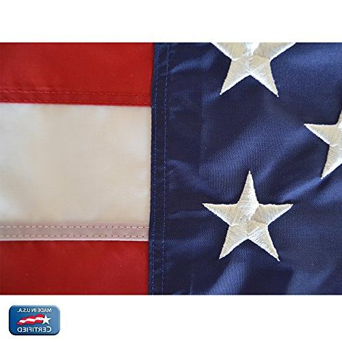 Annin Flagmakers 2460 American Flag 3x5 ft. Nylon 100% Made in with Embroidered Stars and