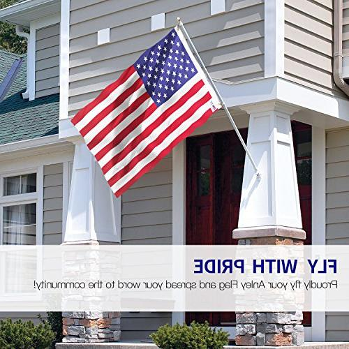 Anley 3x5 Foot American Flag Vivid and Fade Resistant - Header Double Flags with 3 X