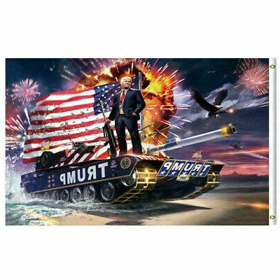Trump 2020 Re-Election Flag 3x5 TANK Keep America Great Dona