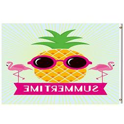 Pineapple Flamingo Summertime Funny Flag 3x5 Feet with Brass