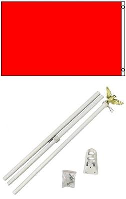 3x5 Solid Fire Engine Red Color Business Flag w/ 6' Outdoor
