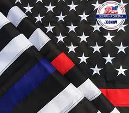Thin Blue Line Thin Red Line Flag - 3x5 ft Embroidered Stars