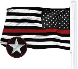 G128 - Thin Red Line US Flag 3X5 FT Brass Grommets Embroider