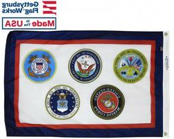 U.S. Armed Forces  Military Durable All-Weather Nylon Flag