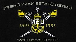 US Navy Chiefs Flag 5ft x 3ft Large - 100% Polyester - Metal