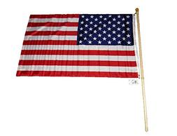3x5 USA American Flag with 5 Foot Wooden Flag Pole Kit Wall