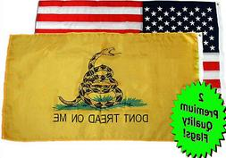 Wholesale Lot 3' X 5' USA American & Gadsden Yellow Don't Tr